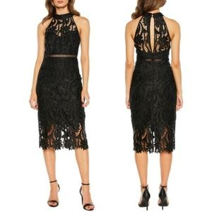 NWT BARDOT Black Halter Evening Dress Open Back 6